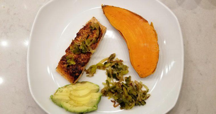 Easy Salmon, Leek, Sweet Potato Plate