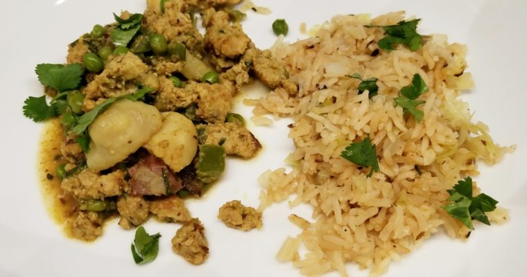 Turkey Keema with Cabbage Fried Rice