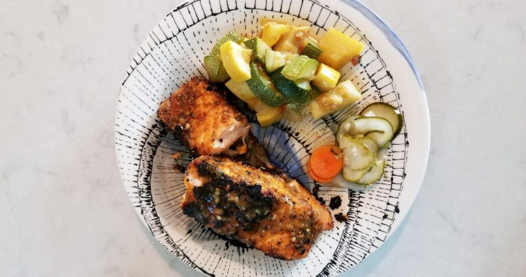 Salmon, Zucchini, and Pickle Dinner