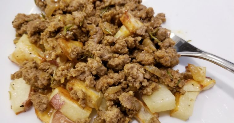 Ground Lamb over Roasted Potatoes